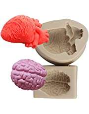 XLZSP 2PCS Halloween Heart and Brain Silicone Molds DIY Simulation Human Organ Fondant Mould Cake Candy Biscuit Polymer Clay Ice Mold Kitchen Baking Tools