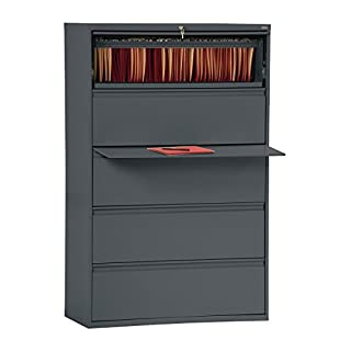 "Sandusky Lee LF8F425-02 800 Series 5 Drawer Lateral File Cabinet, 19.25"" Depth x 66.375"" Height x 42"" Width, Charcoal"