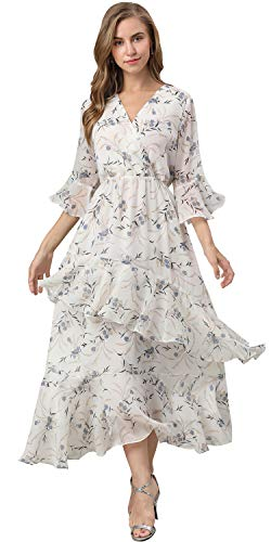 XINUO Women's Dresses V Neck Chiffon Floral Summer Casual Formal Work Maxi Sundress Cocktail Boho Midi Dress 2019 New (US 12-14=CN L,White Blue Floral)
