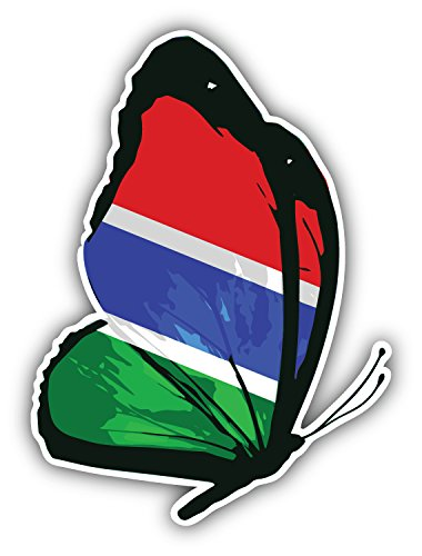 Gambia flag butterfly art decor bumper sticker 4
