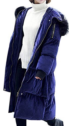 Épaissir Avec Longues Élégant Fourrure Facile Capuchon Bouffant Manteau Chaud Blouson Biran Femme Parka Fermeture Éclair Breal Quilting Doudoune Hiver Outdoor Blau JcTlK1F3