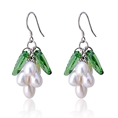 Lureme Ivory Freshwater Pearl Grape with Green Leaf Silver Tone Dangle Earrings for Women 02002128-1