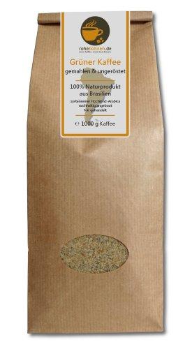 Grüner Kaffee gemahlen - Brasilien (Rohkaffee gemahlen 1000g)