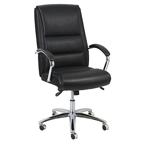 Realspace(R) Modern Comfort Series Morgan High-Back Bonded Leather Chair, Black/Chrome (Series Morgan Leather)