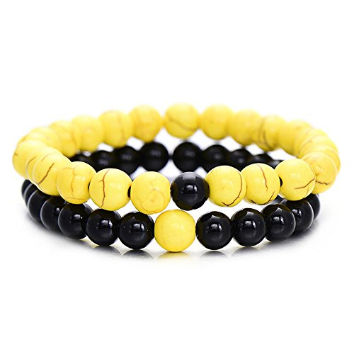 Beaded Yellow Set Jewelry (2Pcs/Set Couples Distance Bracelet Classic Natural Stone Yin Yang Beaded Bracelets for Men Women Best Friend Hot (Yellow Black))