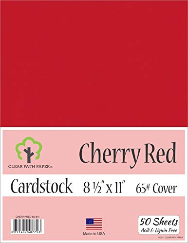 (Cherry Red Cardstock - 8.5 x 11 inch - 65Lb Cover - 50 Sheets)