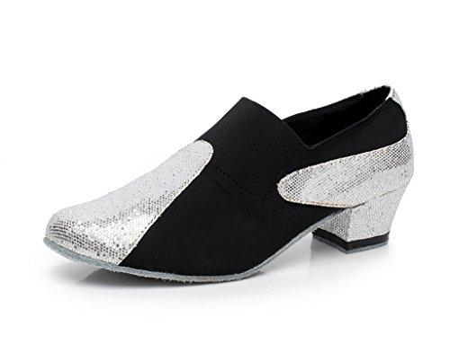 Minishion On Tango Salsa Dance Shoes Slip Latin Ballroom QJ708 Silver Womens Modern Suede qr0rtfw