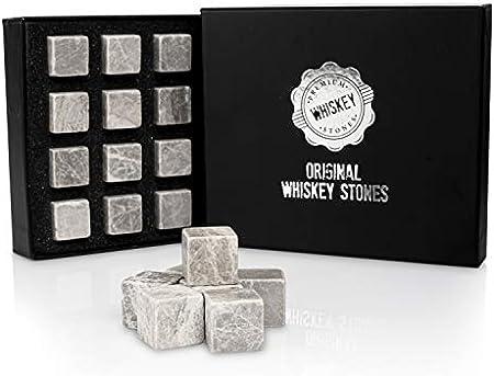 Juego de 12 piedras de whisky de alta calidad con bolsa y piedras para whisky, bourbon, coñac, whisky, ginebra, bebida de vino, cubitos de hielo reutilizables de mármol.