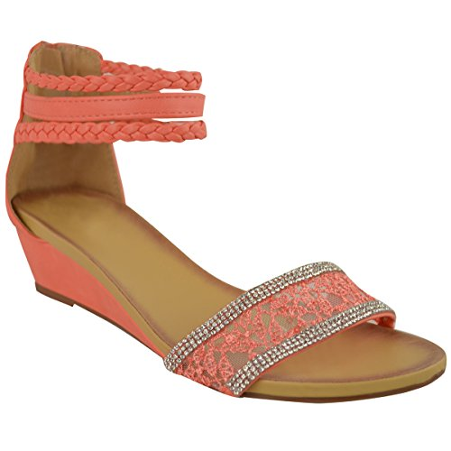 Fashion Thirsty Womens Summer Sandals Low Heels Wedge Ankle Strappy Lace Diamante Size 9