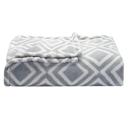 Soft oversized Microplush Blanket, Gray (Geo Geometric Throw)