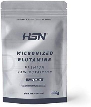 Glutamina Micronizada de HSN   Kyowa como Materia Prima   100% Pura   Suplemento para favorecer el Crecimiento y Recuperación Muscular   Vegano, Sin Gluten, Sin Lactosa, Sin Sabor, 500 gr