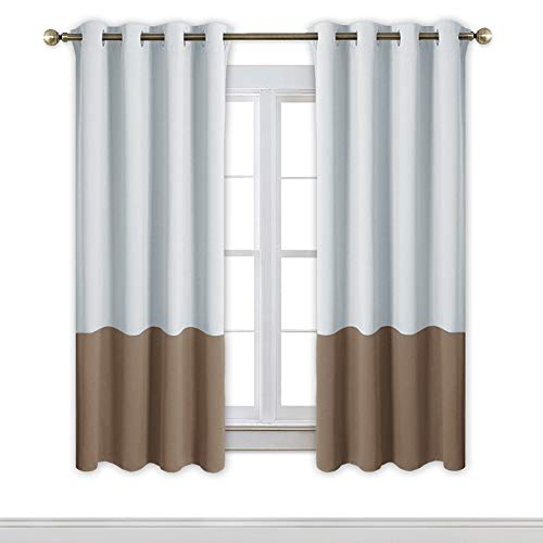 NICETOWN Colorblock Room Darkening Curtains - Home Fashion Thermal Insulated Grommet Blackout Window Treatment Curtains/Draperies (2 Panels,52 by 63