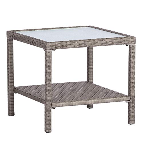 SOLAURA Furniture Outdoor Patio Table Steel Frame Grey Wicker Coffee Table Square Side Table Tempered Glass Top (Coffee Square Wicker Table)