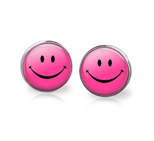 Pink Smiley Stainless Steel Glass Stud Earrings 12mm - Glasses Smiley