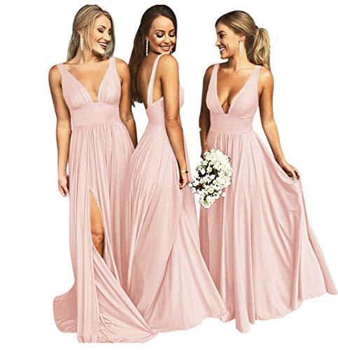 Bridesmaid Dresses Long V Neck Backless Split Beach Wedding Evening Prom Dress for Women Blush Size6 ()