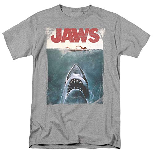 Jaws Shark Original Movie Poster Athletic Heather T Shirt & Exclusive Stickers (XXX-Large)