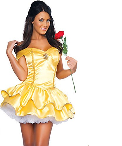 [KHUN Halloween costumes Women Belle Disney fairy tale princess Dress] (Belle Halloween Costumes For Women)