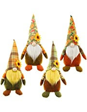 UgyDuky 4 Pcs Harvest Festival Gnome Ornaments, Fall Thanksgiving Gnome Swedish Tomte Faceless Dolls for Autumn Thanksgiving Day Farmhouse Home Kitchen Tiered Tray Decorations