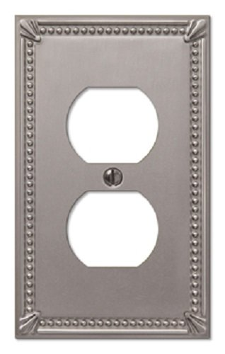 Imperial Bead Single Duplex Cover Plate in Brushed Nickel