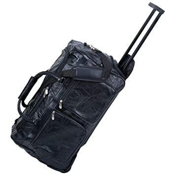 Amazon.com: Real Leather Rolling Duffle Bag Black - Trolley ...
