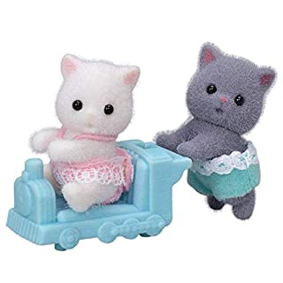 Calico Critters Persian Cat Twins, Dolls, Dollhouse Figures, Collectible Toys; Figure & Accessory Included