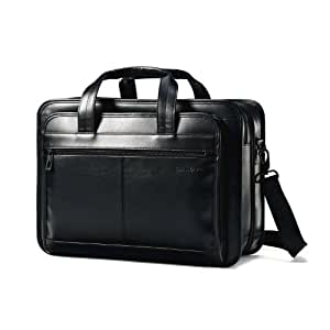 sleek huge inventory high quality Samsonite Leather Expandable Briefcase, Black