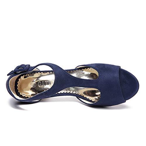 Jane Open Shoes Heel Women Mary Strap Mid Sandals T GATUXUS Heel Navy Kitten Toe Ankle ZaqqAx