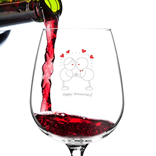Happy Anniversary! Wine Glass- 12.75 oz. - Romantic Red or White Wine Glass Gift - Made in USA – Cool Present Idea for Anniversary, Newlywed, Wife or Her (Qty. 1)