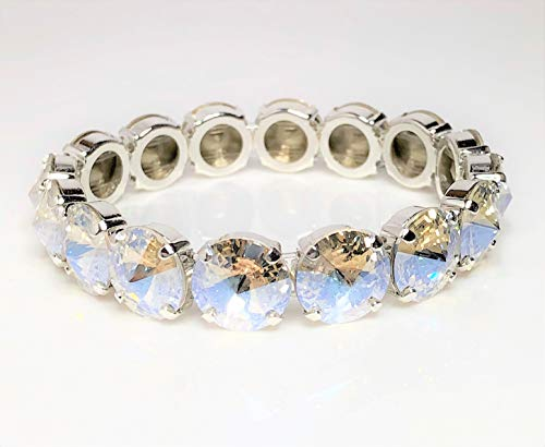 (Moonlight Crystal Bracelet - Stretch with No Clasp - Stacking Tennis Bracelet - 12mm Stones)