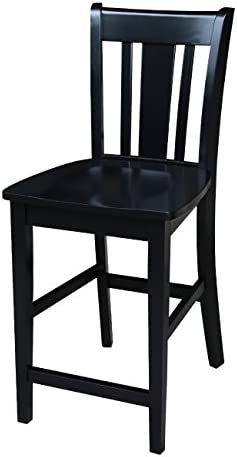 International Concepts San Remo Counter Height Stool, 24-Inch, Black Finish