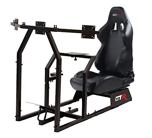 GTR Racing Simulator GTAF-BLK-S105LBK - GTA-F Model (Black) Triple or Single Monitor Stand with Black Adjustable Leatherette Seat, Racing Simulator Cockpit Gaming Chair Single Monitor ()