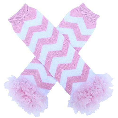 So Sydney Baby Toddler Girl Chevron Stripe Tutu Chiffon Ruffle Leg Warmers (Princess Pink)