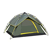 Waterproof Double Layer Camping 4 Person Instant Tent, Army Green