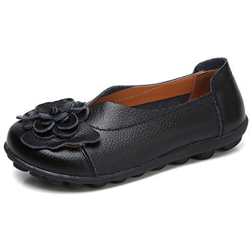 SCIEN Women's Casual Leather Loafers Soft Round Toe Driving Moccasins Slip On Flat Shoes Black