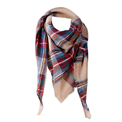 Kimloog Women's Fall Winter Scarf Tassel Soft Plaid Tartan Scarves Winter Large Blanket Wrap Shawl (G) ()
