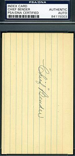 CHIEF BENDER PSA DNA Mint Autograph 3x5 Signed Index Card