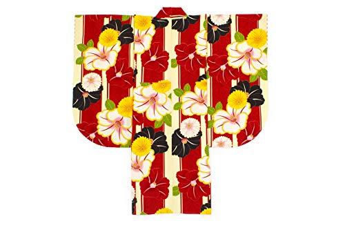 袴用二尺袖着物 JAPAN STYLE×中村里砂(ジャパンスタイル) 赤 レッド 黄色 椿 菊 花 縞 麻の葉 重衿付き 小紋柄 小振袖 卒業式 謝恩会 女性 日本製