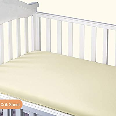 """Vonty Baby Crib Sheets 100% Natural Cotton Mini Crib Fitted Sheet for Baby Boys and Girls, All Seasons Use, Soft and Breathable (24""""x38"""", Yellow)"""