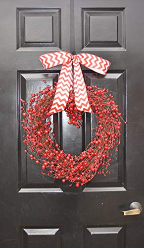 Elegant Holidays Handmade Red Berry Heart Shaped Wreath, Decorative Front Door to Welcome Guests- for Outdoor Indoor Home Wall Accent Décor- Great for Valentine's Day, All Seasons, Year Round Wreath