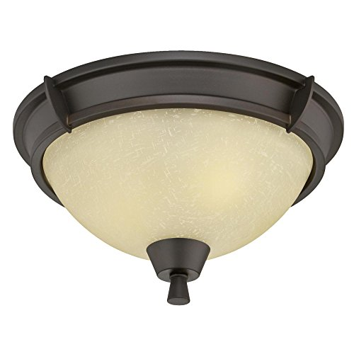 Westinghouse Lighting 6303000 Midori Two-Light Indoor Flush Mount, Oil Rubbed Bronze Finish with Amber Linen Glass