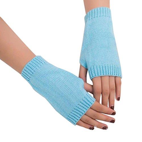 ManxiVoo Charming Women Girl Knitted Arm Fingerless Warm Winter Gloves Soft Warm Mitten (Sky Blue) - Rainbow Net Fingerless Gloves
