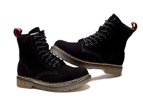 suede Brinny Moto Fourrure Martin Lacets Boots Talon Bottes Botte De Bottines Cuir Femme Hiver Noir En À aawPxzHqn