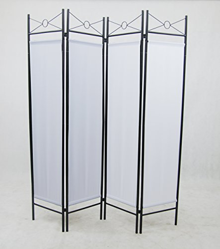 4 Panel White Color Metal and Woven Fabric Room Divider with Two Way Hinges, By Legacy Decor Fabric Room Dividers