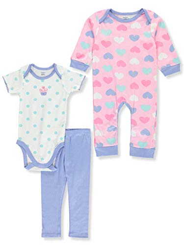 Gerber Baby 3 Piece Coverall, Bodysuit, and Pant Set, cupcake, 0-3 -
