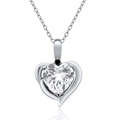 2.02 Ct Heart Shape White Topaz & Black Diamond 925 Sterling Silver Ladies Pendant Necklace with 18
