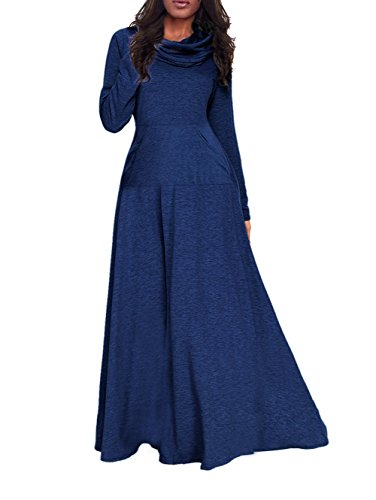 Pleated Cowl Neck Dress (Corala Women's Long Sleeve Cowl Neck Plain Loose Casual Long Dress Maxi Dresses With Pocket)