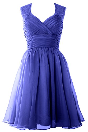 Blue Wedding Party Royal Short Elegant Vintage Gown MACloth Chiffon Dress Formal Bridesmaid fqPwxTF7