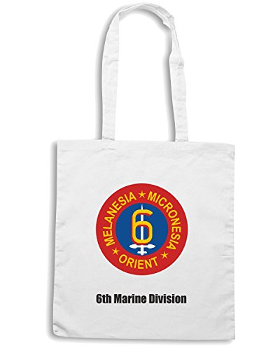 T-Shirtshock - Borsa Shopping TM0353 6th Marine Div USMC usa Bianco