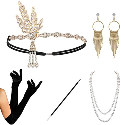 HAMIST 1920s Accessories Set Flapper Costume for Women Headband Gloves Cigarette Holder Necklace (1920Set5-HA02Gold)]()