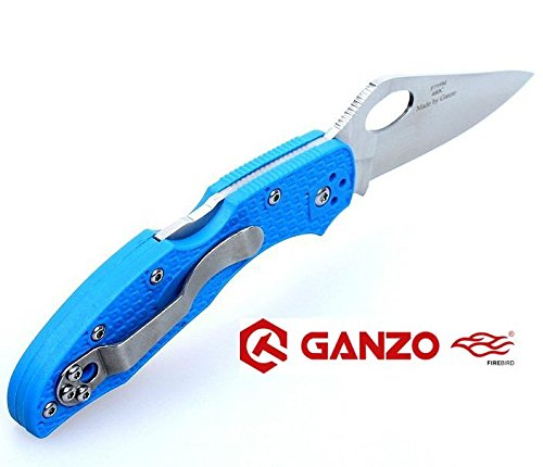 GANZO FIREBIRD Anti-Slip Handle Scales Steel Liner Lock Folding Tactical Survival Knife Blade with Clip, Pouch, (Blue Frn Handle)
